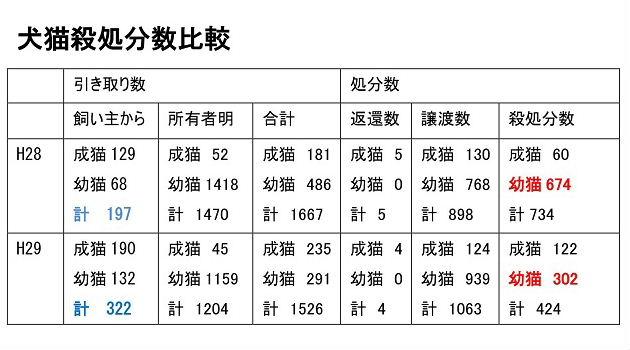 平成29年度:犬猫殺処分数(環境省公表)